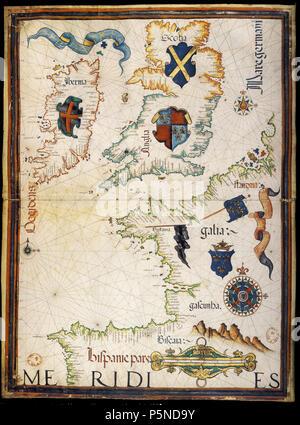 N/A. Français: Carte des côtes de la France et de la Grande-Bretagne, par Diogo Homen (1559). 1559. Diogo Homen 455 Diogo Homen 1559 France - Stock Photo