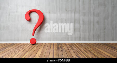 Red question mark at concrete grunge Wall - FAQ Concept - 3D rendering - Stock Photo