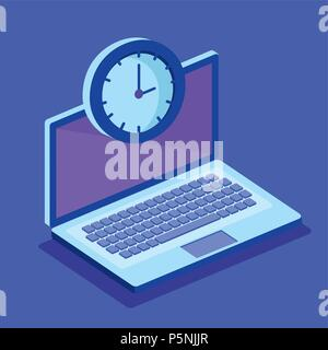 laptop computer and isometrics icons - Stock Photo