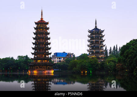 Sun and Moon Pagodas in Guilin, Guangxi Province, China. - Stock Photo