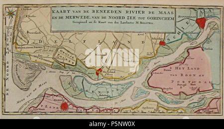 N/A. English: Mouth of the Meuse in 1769. Map of Izaak Tirion from 1769. Nederlands: Maasmonding in 1769. Kaart van Izaak Tirion uit 1769 . 1769. Izaak Tirion en Melchior Bolstra 186 Beneeden rivier de Maas - Stock Photo
