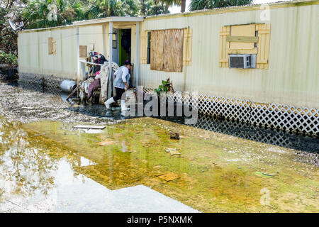 Bonita Springs Florida after Hurricane Irma storm rain damage flooding mobile park trailer home recovery cleanup damage destruction aftermath Hispanic - Stock Photo