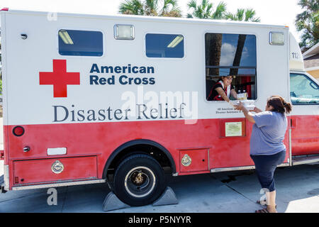 Bonita Springs Florida after Hurricane Irma storm damage destruction aftermath disaster recovery relief donations distribution site point Red Cross Di - Stock Photo