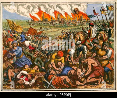 Battle near Liegnitz (Wahlstatt) on 9th April 1241 (The Mongols under Orda defeat the Polish-German knights' army under Duke Henry II. of Silesia).-'Great defeat of the Christians, which they suffered from the Tatars'.-Copper engraving b.Matthäus Merian t.Eld. From: J.L.Gottfried, Historische Chronica, 1630, p.583; later coloured. 206 Bitwa pod Legnicą - Stock Photo