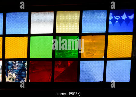 ETHIOPIA , Harar, Arthur Rimbaud House and museum, the french author lived here from 1854-1891, coloured window glass - Stock Photo