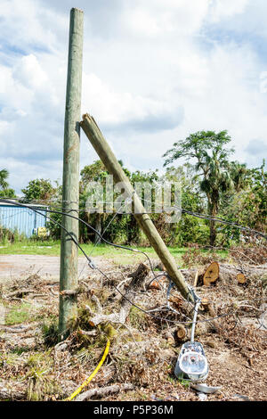 Florida LaBelle after Hurricane Irma wind storm damage destruction aftermath disaster recovery relief utility telephone light pole broken damaged - Stock Photo