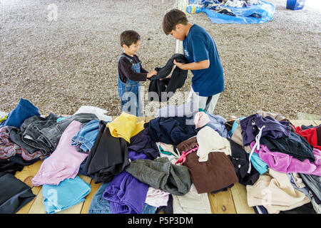 Florida LaBelle after Hurricane Irma storm assistance destruction aftermath disaster recovery relief donations free clothing distribution site point H - Stock Photo