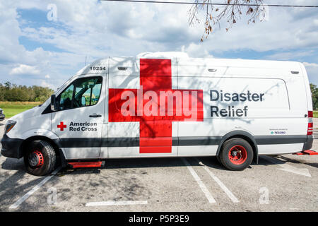 Florida LaBelle after Hurricane Irma storm aid assistance destruction aftermath disaster recovery relief Red Cross Disaster Relief van - Stock Photo