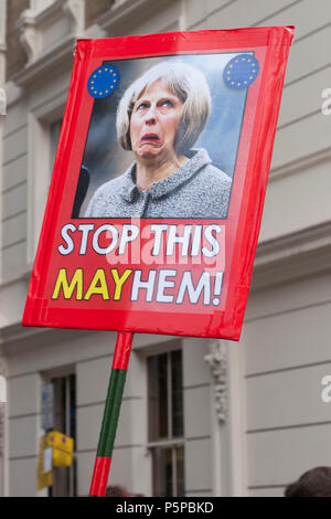 People's Vote March, London, UK, 23rd June 2018. Banner: Stop this Mayhem! - Stock Photo
