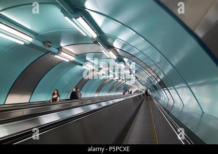 St.Petersburg, Russia - June 15, 2016: Passengers are on Saint-Petersburg subway station - Stock Photo