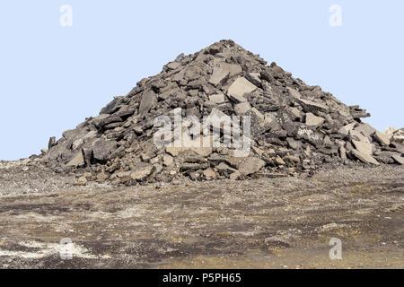 big pavement pile at a construction site - Stock Photo