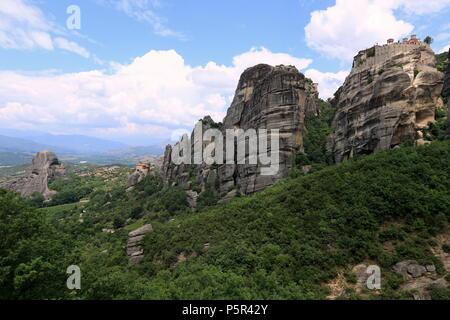 Meteora rock formation and monasteries in Kalambaka, Thessaly region, Greece. - Stock Photo