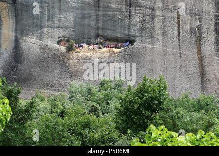 The monastery o St George the Mandilas in Meteora rock formations, Kastsraki, Kalambaka, Thessaly, Greece. - Stock Photo