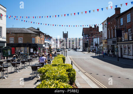 View Along Hart Street In Henley On Thames Oxfordshire UK Looking Towards River Thames - Stock Photo