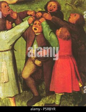 N/A. English: Pieter Bruegel Children's games detail Nederlands: Pieter Bruegel Kinderspelen detail . 1560. Pieter Bruegel 242 Bruegel Kinderspelen Haartje plukken - Stock Photo