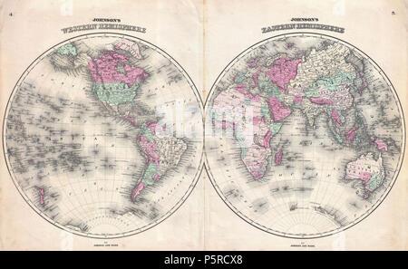 1862 Johnson Map of the World on Hemisphere Projection - Geographicus - WorldHemi-johnson-1862. - Stock Photo