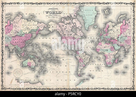 1862 Johnson Map of the World on Mercator Projection - Geographicus - WorldMerc-johnson-1862. - Stock Photo