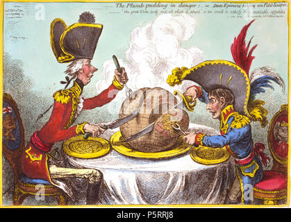 N/A. :          ... Js. Gillray, inv. & fecit.  :                   .             .         .  :    .  : : .  1805  () 26.                 (1851 OCLC 59510372) . 240 «      —     .              ()   1805». English: The Plumb-pudding in danger, or, State epicures taking un petit souper ... Js. Gillray, inv. & fecit. SUMMARY: William Pitt, wearing a regimental uniform and hat, sitting at a table with Napoleon. They are each carving a large plum pudding on which is a map of the world. Pitt's slice is considerably larger than Napoleon's. MEDIUM: 1 print: etching, hand-colored. CREATED/PUBLISHED: - Stock Photo