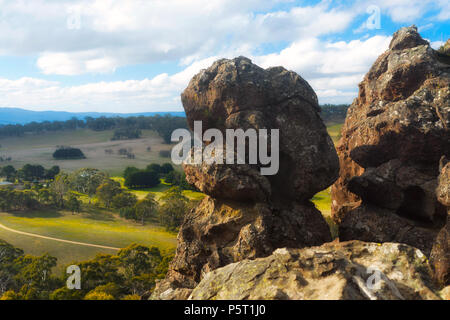A photo of Hanging rock - popular tourist attraction in Macedon, Victoria, Australia. - Stock Photo