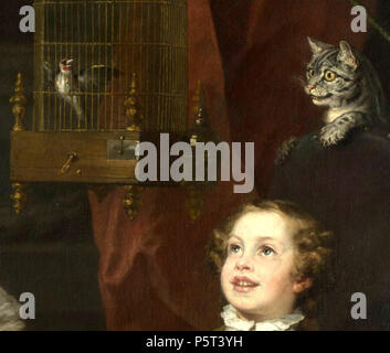 N/A.  English: Cat and bird, The Graham Children, Hogarth. . 1742.    William Hogarth (1697–1764)   Description British painter and engraver  Date of birth/death 10 November 1697 25 October 1764  Location of birth/death London London  Work location London, Chiswick  Authority control  : Q171344 VIAF:17268409 ISNI:0000 0001 2099 3749 ULAN:500004242 LCCN:n80126106 NLA:35201047 WorldCat 282 Cat and bird, The Graham Children, Hogarth - Stock Photo