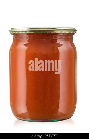 tomato paste in jar isolated on white background. Clipping path. - Stock Photo