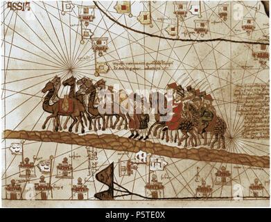 N/A. Français: La caravane de Marco Polo voyageant vers les Indes. 1375. Abraham Cresques, Atlas catalan 270 Caravane Marco Polo Stock Photo