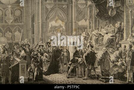 Charles X (1757-1836). King of France and Navarre. Consecration of Charles X of France in the Cathedral of Reims, on May 29, 1825. Engraving by Kaeseberg. History of France, 1881. - Stock Photo