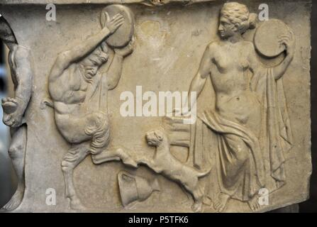 Roman sarcophagus. About 140 AD. Marriage of Dionysus and Adriadne. Detail. Lateral wall. Courtship: maenad, satyr and panther. Glyptothek. Munich. Germany. - Stock Photo