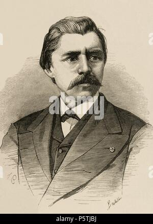 David Edward Hughes (1831 Ð 1900). Was a Welsh-American scientist and musician. Co-inventor of the microphone and teleprinter, inventor of the spark-gap transmitter and inventor of the crystal radio. Engraving by A. Carretero. The Spanish and American illustration, 1875. - Stock Photo
