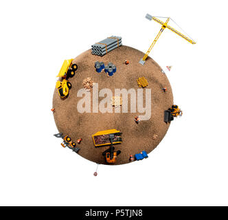 A representation of the planet showing the damage done by building and construction. - Stock Photo