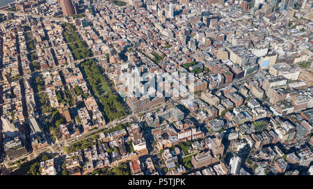 Aerial view of the Lower East Side and Chinatown, Manhattan, NYC, USA - Stock Photo