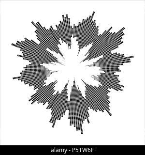round sound wave effect isolated on white background - Stock Photo