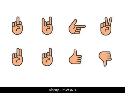 Vector hands icons set - Stock Photo