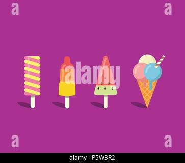 Ice cream set in flat style - Stock Photo