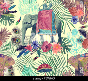 Seamless exotic watercolor pattern with elephants, flowers, leaves, feathers, ganesha. - Stock Photo