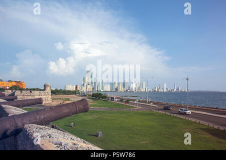 View of canons on the fortified city walls of Cartagena city in Colombia - Stock Photo