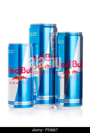 LONDON, UK - JUNE 23, 2018: Aluminium cans of Red Bull Energy Sugar free Drink on white. Red Bull is the most popular energy drink in the world. - Stock Photo