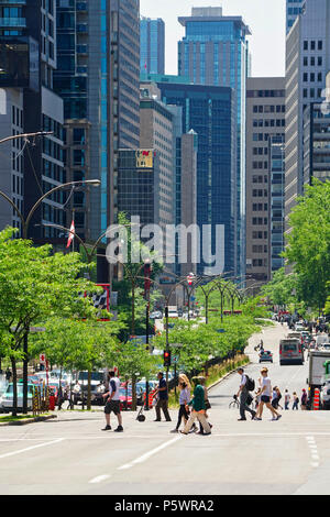 Montreal,Canada, 26 June 2018. Rene-Levesque boulevard passing through Montreal's downtown core.Credit:Mario Beauregard/Alamy Live News - Stock Photo