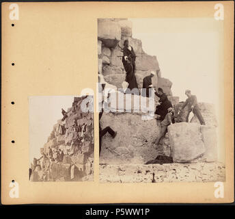 N/A. BPLDC no.: 08 04 000021 Page Title: Climbing the Pyramids Collection: Tupper Scrapbooks Collection Album: Volume 26: Lower Egypt. Pyramids. Call no. 4098B.104 v26 (p. 20) Creator: Tupper, William Vaughn Description: Scrapbook page containing two photographs of people climbing up the side of a pyramid. Subjects: Egypt travel photography pyramids (tombs) Jzah, Ahrmt al- Page size: 33 x 38.1 cm Annotations: [none] Language: English Rights: No known restrictions. Coverage: Egypt Notes: Title supplied by cataloger, derived from captions or annotated information. Format: Scrapbooks Technique: P - Stock Photo