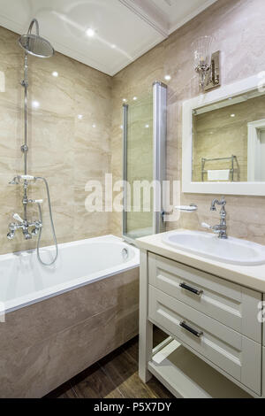 Sink By Shower In Classic Style Bathroom Stock Photo 224376905 Alamy