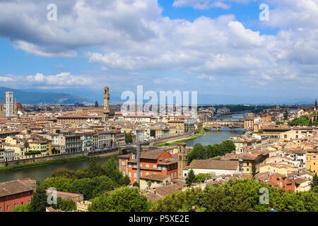 Wonderful Florense cityscape with clouds in background, Italy. - Stock Photo