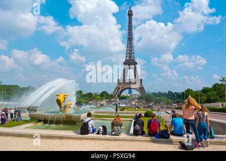 Eiffel tower, seen from Trocadero, Jardins du Trocadero, Place de Trocadero, Paris, France - Stock Photo
