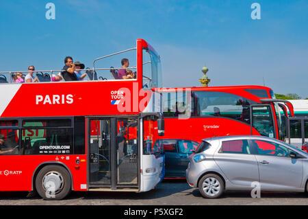 Traffic congestion, sightseeing bus, Place de la Concorde, Paris, France - Stock Photo