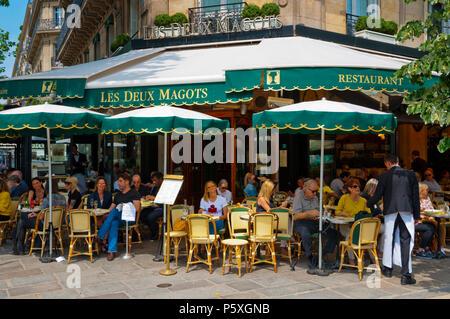 Restaurant cafe Les Deux Magots, St Germain des Pres, Left Bank, Paris, France - Stock Photo