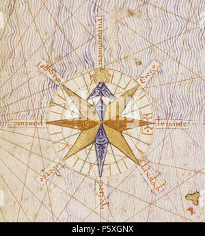 N/A. English: First compass rose depicted on a map, detail from the Catalan Atlas (1375), attributed to cartographer Abraham Cresques of Majorca. 1375. attrib. Abraham Cresques 373 Compass rose from Catalan Atlas (1375)