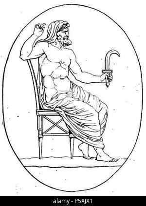 391 Cronos armé de la faucille (harpè) contre son père et divers médaillons pierre gravée crop - Stock Photo
