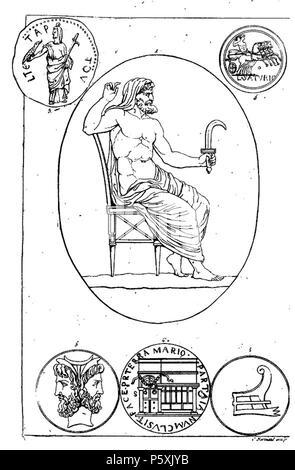 391 Cronos armé de la faucille (harpè) contre son père et divers médaillons pierre gravée - Stock Photo