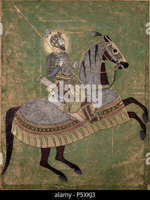 N/A. English: This portrait of the Mughal Emperor Aurangzeb mounted on a horse, and ready for battle, was originally produced in 1660-70. Aurangzeb was the son of Shah Jahan and brother of Dara Shikoh and reigned from 1658–1707. This image is taken from Johnson Album 3, 4. As featured in the British Library exhibition, Mughal India: Art, Culture and Empire. Unknown date. Unknown 508 Emperor Aurangzeb on horseback - Stock Photo