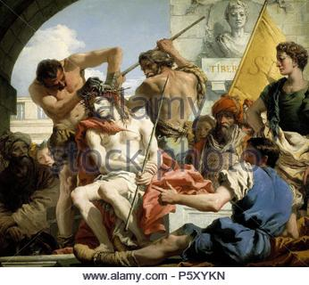 Giandomenico Tiepolo / 'The Crown of Thorns', 1772, Italian School, Oil on canvas, 124 cm x 144 cm, P00357. Artwork also known as: CORONACION DE ESPINAS. Museum: MUSEO DEL PRADO. - Stock Photo