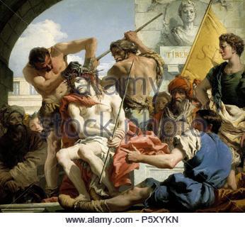 Giandomenico Tiepolo / 'The Crown of Thorns', 1772, Italian School, Oil on canvas, 124 cm x 144 cm, P00357. Artwork also known as: CORONACION DE ESPINAS. Museum: MUSEO DEL PRADO. - Stock Photo